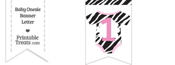 Zebra Print Baby Onesie Bunting Banner Number 1