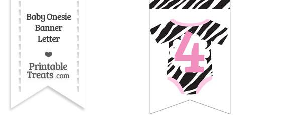 Zebra Print Baby Onesie Bunting Banner Number 4