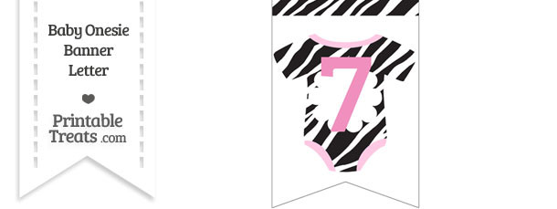 Zebra Print Baby Onesie Bunting Banner Number 7