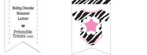 Zebra Print Baby Onesie Bunting Banner Star End Flag