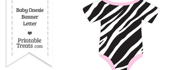 Zebra Print Baby Onesie Shaped Banner Blank Spacer Flag