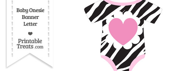 Zebra Print Baby Onesie Shaped Banner Heart End Flag