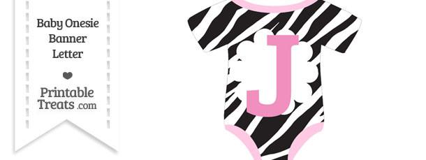 Zebra Print Baby Onesie Shaped Banner Letter J