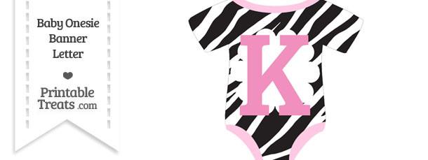 Zebra Print Baby Onesie Shaped Banner Letter K