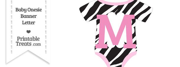 Zebra Print Baby Onesie Shaped Banner Letter M