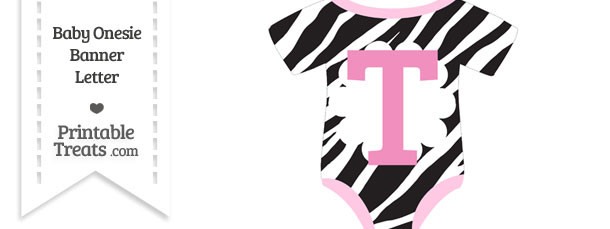Zebra Print Baby Onesie Shaped Banner Letter T