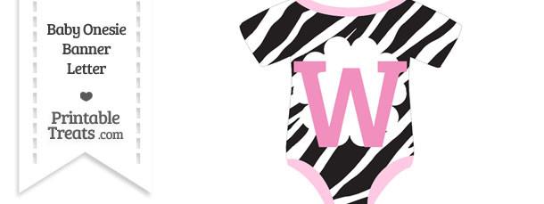 Zebra Print Baby Onesie Shaped Banner Letter W