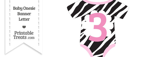 Zebra Print Baby Onesie Shaped Banner Number 3