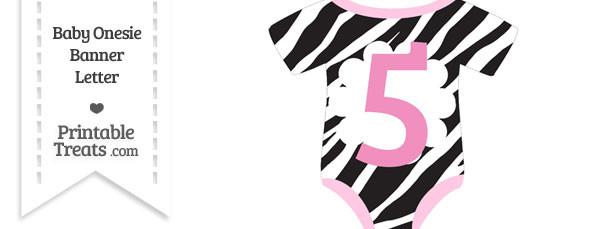 Zebra Print Baby Onesie Shaped Banner Number 5