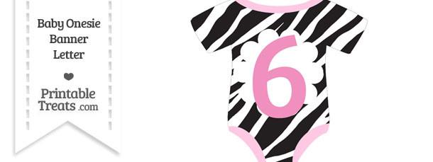 Zebra Print Baby Onesie Shaped Banner Number 6