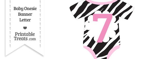 Zebra Print Baby Onesie Shaped Banner Number 7