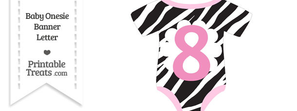 Zebra Print Baby Onesie Shaped Banner Number 8