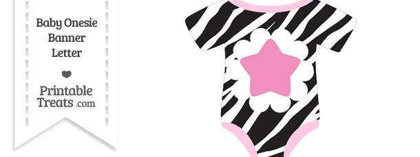 Zebra Print Baby Onesie Shaped Banner Star End Flag