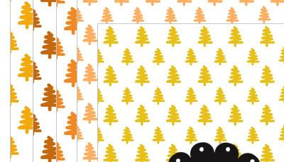 Orange Christmas Tree Digital Scrapbook Paper