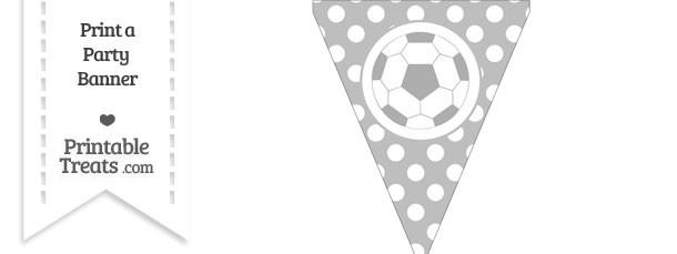 Pastel Light Grey Polka Dot Pennant Flag with Soccer Ball
