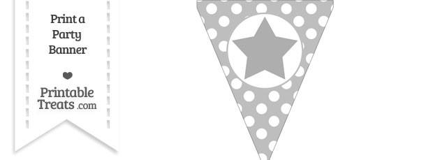 Pastel Light Grey Polka Dot Pennant Flag with Star