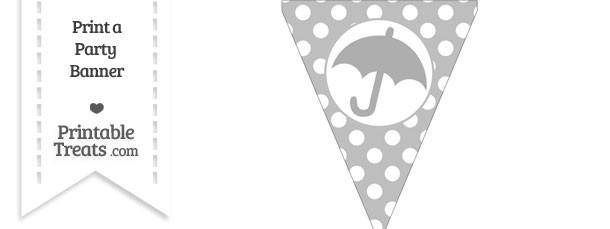 Pastel Light Grey Polka Dot Pennant Flag with Umbrella