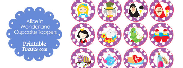 image regarding Alice in Wonderland Printable titled Cost-free Printable Alice within just Wonderland Cupcake Toppers