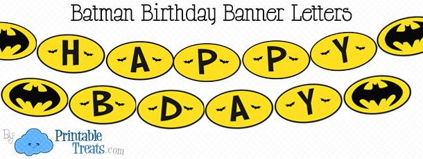 Free Printable Batman Birthday Banner