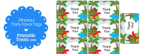 picture relating to Free Printable Thank You Tags for Birthdays named Totally free Printable Dinosaur Thank Yourself Tags Printable