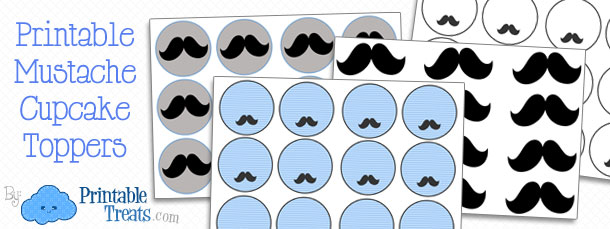 picture about Free Mustache Printable identified as Free of charge Printable Mustache Cupcake Toppers Printable