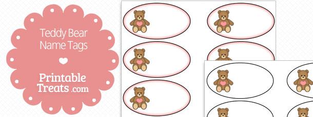 free printable teddy bear name tags printable treats com