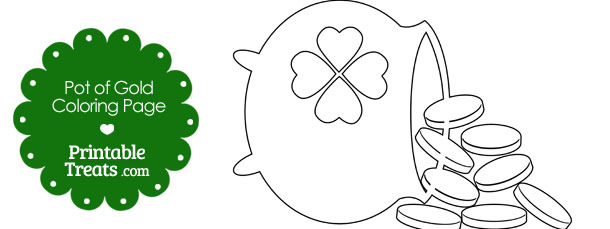 St Patricks Day Pot of Gold Coloring Page — Printable Treats.com
