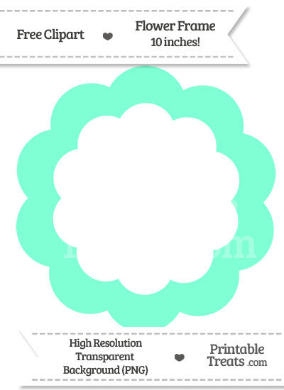 Aquamarine Flower Frame Clipart from PrintableTreats.com