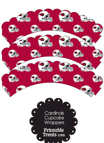 Arizona Cardinals Football Helmet Scalloped Cupcake Wrappers from PrintableTreats.com