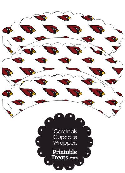 Arizona Cardinals Logo Scalloped Cupcake Wrappers from PrintableTreats.com