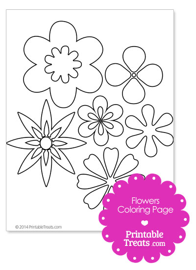 Assorted Flowers Coloring Page from PrintableTreats.com