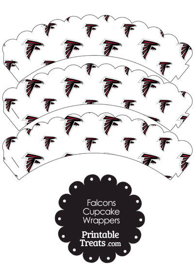 Atlanta Falcons Logo Scalloped Cupcake Wrappers from PrintableTreats.com