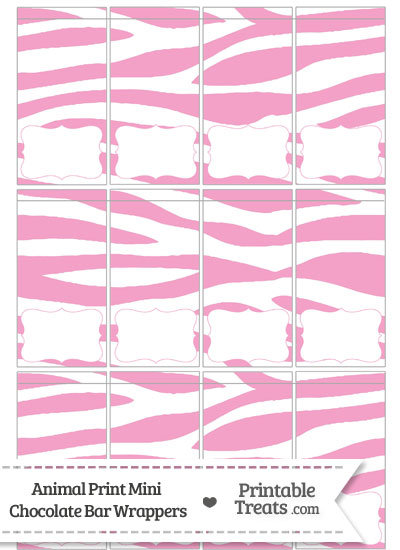 Baby Pink and White Zebra Print Mini Chocolate Bar Wrappers from PrintableTreats.com