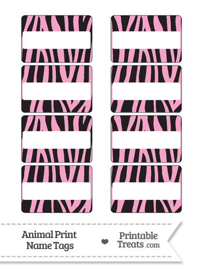 Baby Pink Zebra Print Name Tags Printable Treats Com