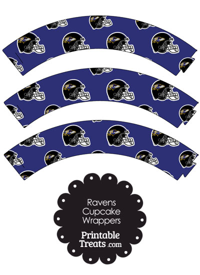 Baltimore Ravens Football Helmet Cupcake Wrappers from PrintableTreats.com