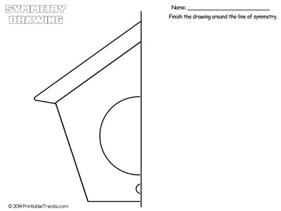 bird house symmetry drawing worksheet
