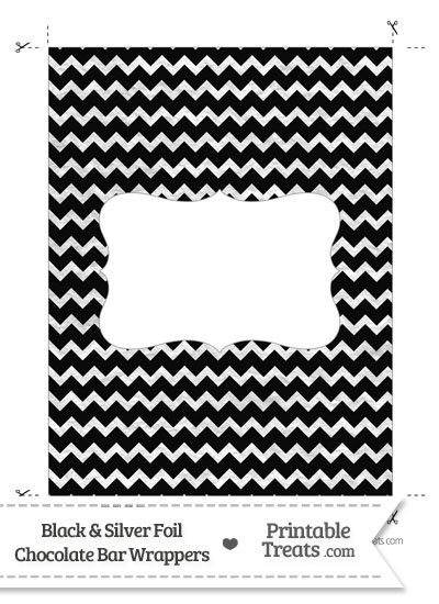 Black and Silver Foil Chevron Chocolate Bar Wrappers from PrintableTreats.com