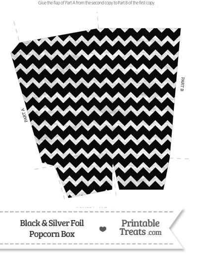 image regarding Popcorn Printable named Black and Silver Foil Chevron Popcorn Box Printable
