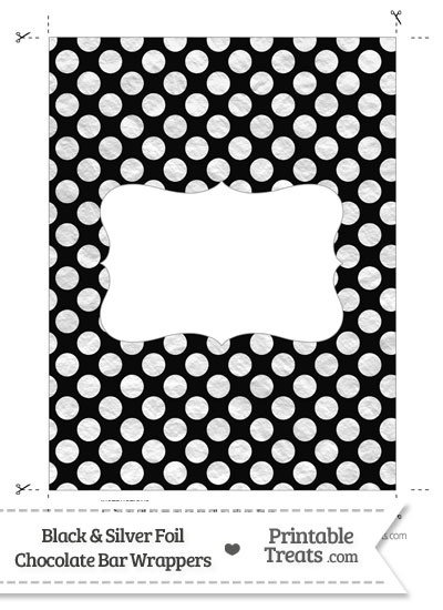 Black and Silver Foil Dots Chocolate Bar Wrappers from PrintableTreats.com