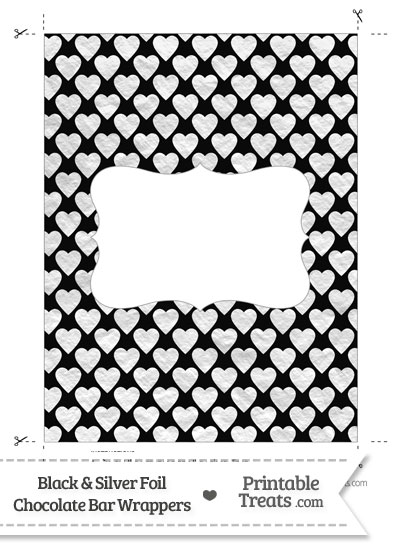 Black and Silver Foil Hearts Chocolate Bar Wrappers from PrintableTreats.com
