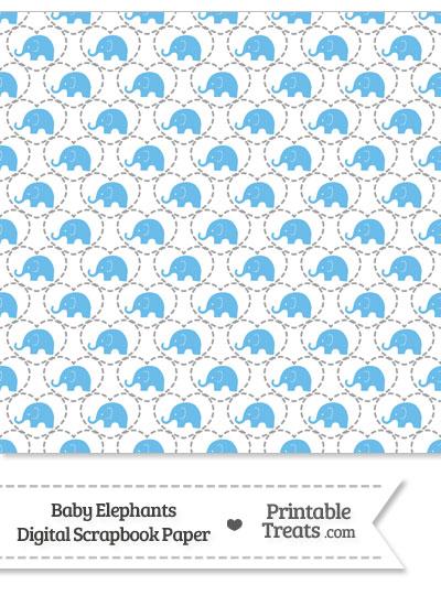 Blue Baby Elephants Digital Scrapbook Paper Printable