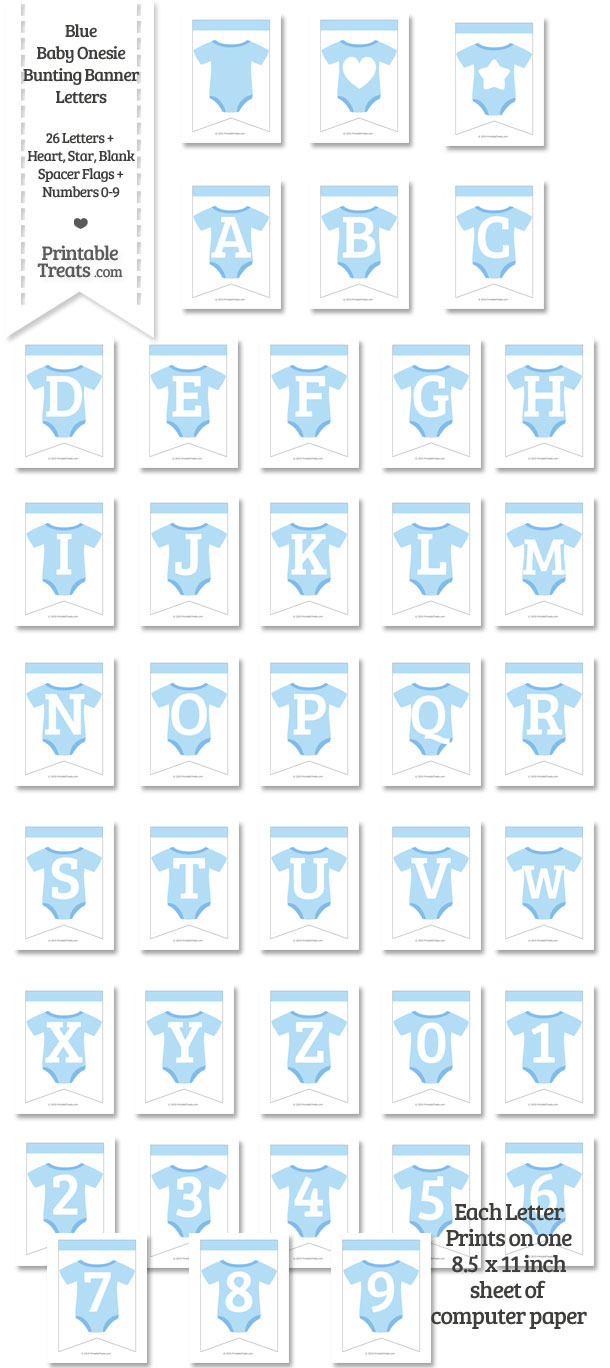Blue Baby Onesie Bunting Banner Letters Download ...