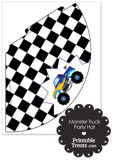 Blue Monster Truck Party Hat Printable Treats