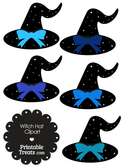 Blue Witch Hat Clipart with Large Bow from PrintableTreats.com