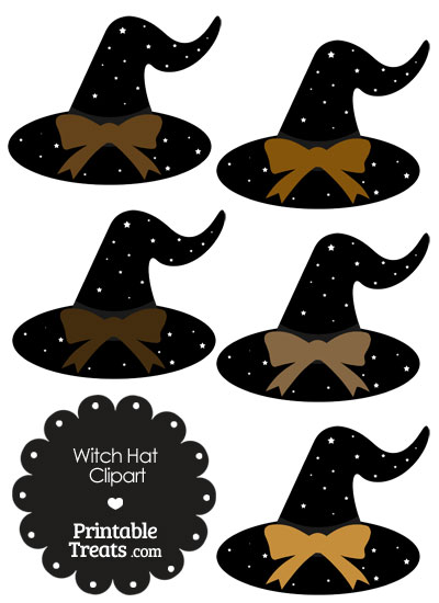 Brown Witch Hat Clipart with Large Bow from PrintableTreats.com