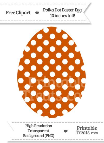 Burnt Orange Polka Dot Easter Egg Clipart from PrintableTreats.com