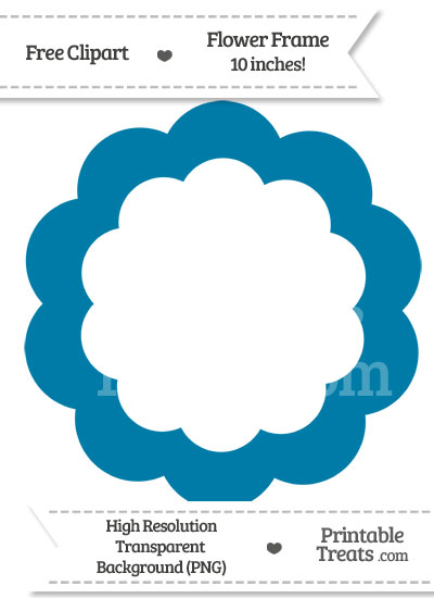Cerulean Blue Flower Frame Clipart from PrintableTreats.com