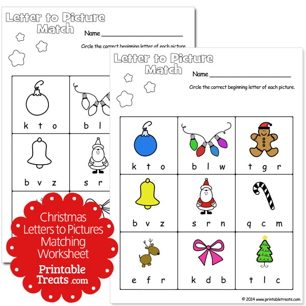Christmas letters to pictures matching worksheet
