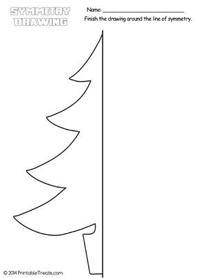 Christmas Tree Symmetry Drawing Worksheet — Printable Treats.com