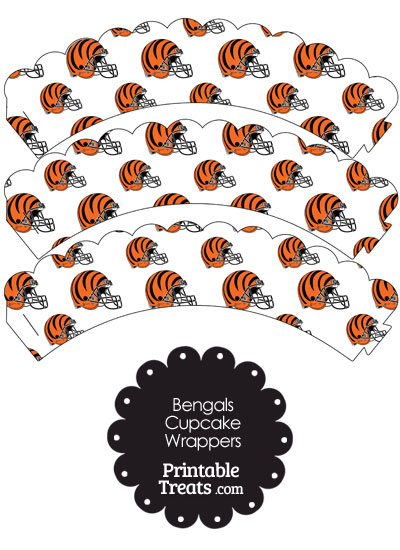 Cincinnati Bengals Football Helmet Scalloped Cupcake Wrappers from PrintableTreats.com